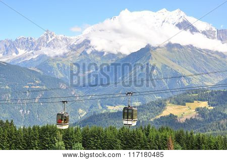Cable Cars In French Alps