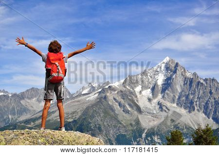 Boy Looking At Mountains