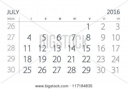 July. Calendar sheet. Calendar of the year two thousand sixteen.