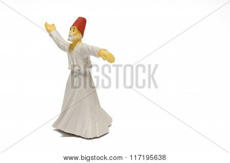 Whirling Dervish Isolated On White Background