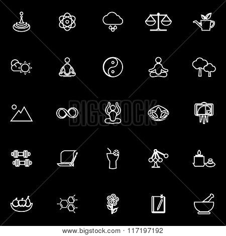 Zen Concept Line Icons On Black Background