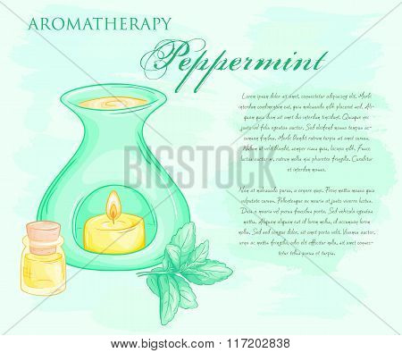 Vector Illustration Of Oil Burner With Peppermint Brunch And Essential Oil