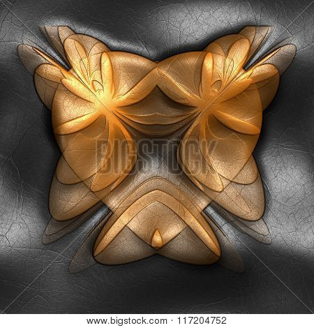 Background With Embossed Fractal heart