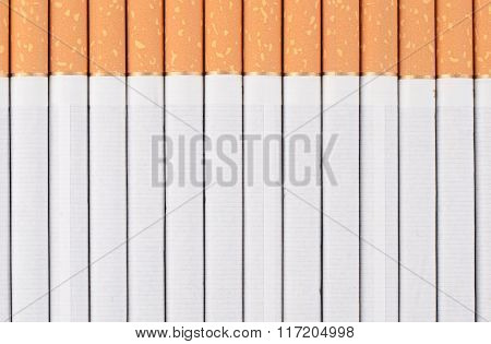 Row Of Cigarettes As A Background