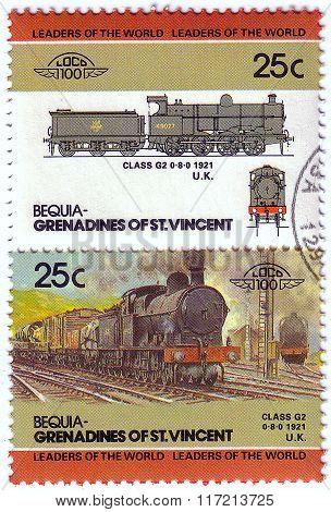 Bequia - Circa 1985: A Stamp Printed In Grenadines Of St. Vincent Shows Class G2 Train 0-8-0, 1921 U