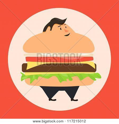 Burgerman. People who eat too many burgers