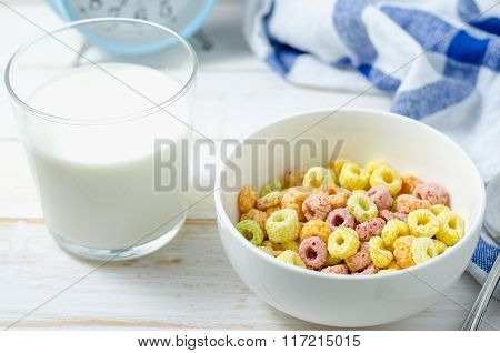 Morning Meal, Colorful Cereal With Milk