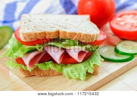 Close Up Of Healthy Sandwich On Wooden Board