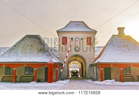 North Gate at Kastellet in Copenhagen Denmark in winter. Kastellet is one of the best preserved star fortresses in Northern Europe. It is constructed in the form of a pentagram with bastions.