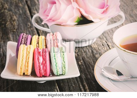 Macaroons With Cup Of Tea