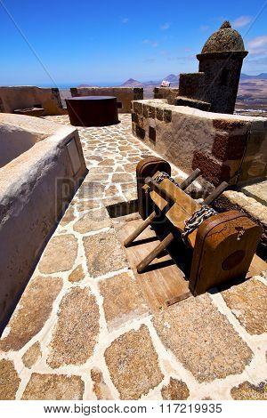 Winch House  Castillo De Las Coloradas   Old Wall Castle  Sentry Tower And Door  In Teguise