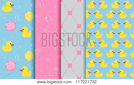 Set Of Seamless Patterns On The Subject Of Bathing , Shower , Bathtub. Yellow Duckling, Lather, Bubb
