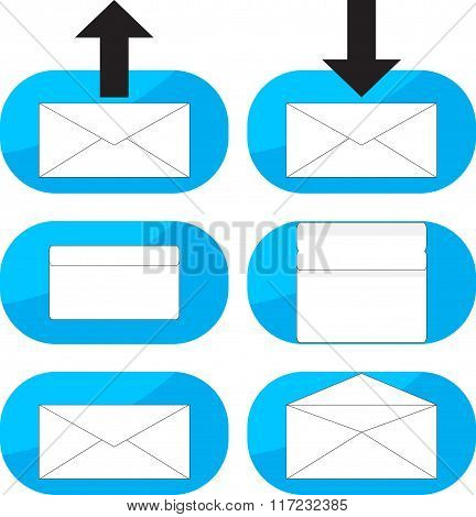Inbox, Outgoing Emails Icon Set