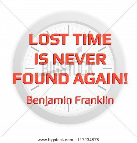 Quote About Losing Time With Clock Background