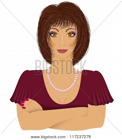 Young women looking right. Vector illustration