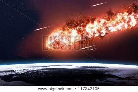 The Falling Meteor Rain. Comet in space, meteor and energy, asteroid glow, powerful star moving. Ele