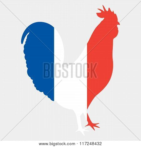 Gallic rooster in french flag colors