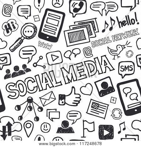 Social Media Doodles Hand Drawn Seamless Pattern