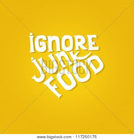 Yellow background with healthcare quote. Ignore junk food text.