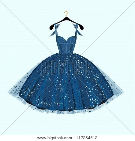Blue party dress. Vector illustration