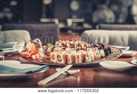 Japanese seafood sushi many tasty fresh Japanese sushi with tuna, caviar and shrimps