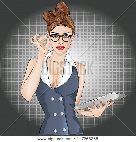 Pin-up Sexy Business Woman Portrait With Laptop Or Tablet
