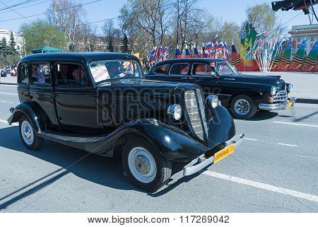 Soviet luxury retro cars on parade. Tyumen. Russia