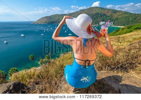 Woman relaxing at viewpoint
