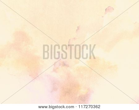 Pastel background with soft yellow watercolor texture on canvas paper