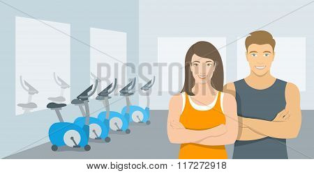 Personal Fitness Trainers Man And Woman In Gym Illustration