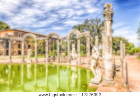 Defocused Background With Ruins Of Villa Adriana, Tivoli, Italy