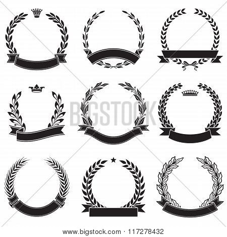 Set Of Laurel Wreaths With Ribbon Banners Award Collection