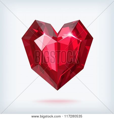 Faceted ruby heart vector illustration