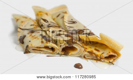 pancakes with chocolate close up