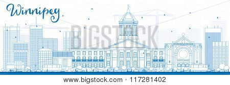 Outline Winnipeg Skyline with Blue Buildings. Business Travel and Tourism Concept with Modern Buildings. Image for Presentation Banner Placard and Web Site.