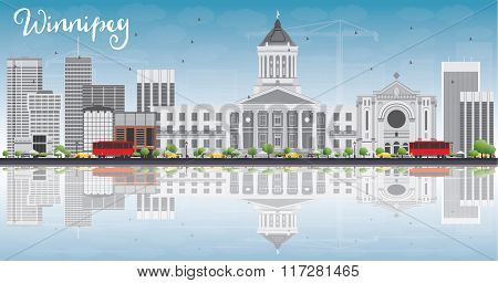 Winnipeg Skyline with Gray Buildings, Blue Sky and Reflections. Business Travel and Tourism Concept with Modern Buildings. Image for Presentation Banner Placard and Web Site.