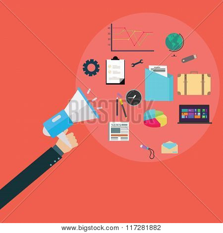 pr public relation agency hand holding speaker communication loud vector poster