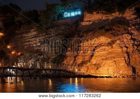 Closeup Of Cameo Island At Night, Zakynhtos, Greece