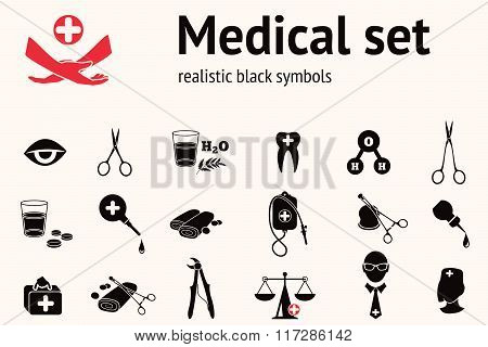 Medical icon set. Health and medicine tool symbols. Forceps, pincers, enema, clamp, bandage, insurance, spectacles, glasses, eye, drop, bag, water.  Black signs on white. Vector isolated poster