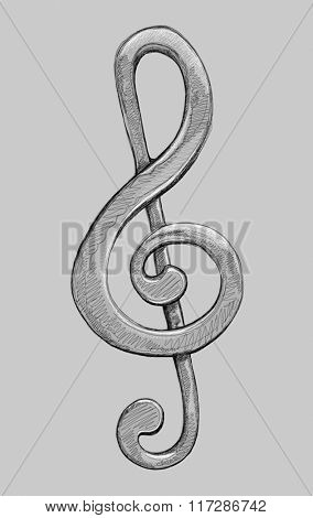 G clef - black and white illustration