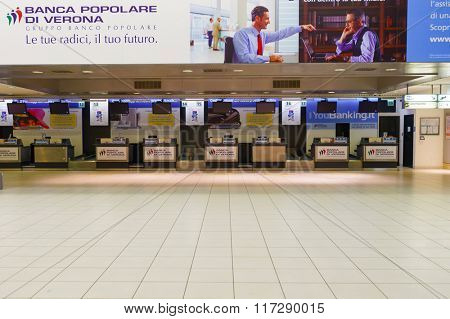 VERONA, ITALY - SEPTEMBER 11, 2014: Verona airport interior. Verona Villafranca Airport or simply Villafranca Airport, is an airport located around 5.0 km southwest of Verona, Italy