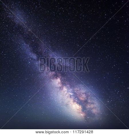 Night Landscape. Starry Sky With Milky Way. Nature Background