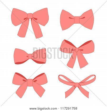 Set of pink vintage gift bows wih ribbons.