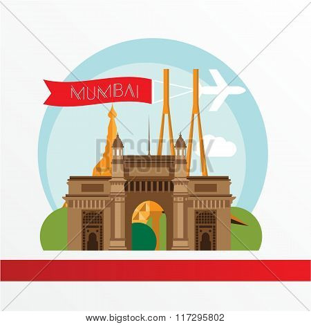 Mumbai, detailed silhouette. Trendy vector illustration, flat style.