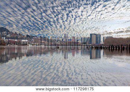 Portland Skyline Along Willamette River Daytime