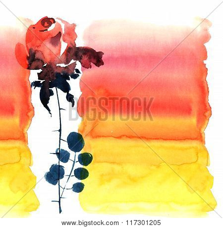 Red rose. Watercolor illustration for greeting card or invitation. Sumi-e, u-sin style.