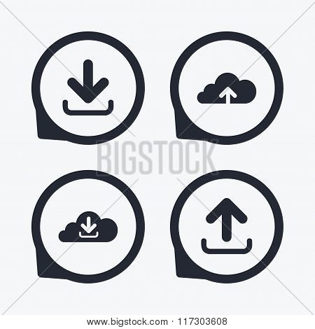 Download now signs. Upload from cloud icon.