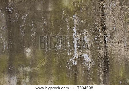Old broken stained damp wall textured background