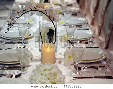 Beautiful table setting for celebration. Shallow DOF