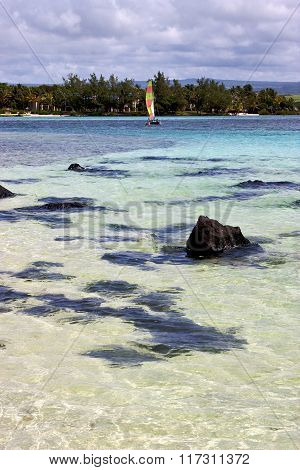 Boat Foam Footstepocean Some Stone In Mauritius Blue Bay